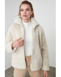 Bold Ecru Fur Coat - Natural