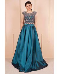 Bold Special Design Petrol Crop Blouse & Long Skirt Evening Set - Blue