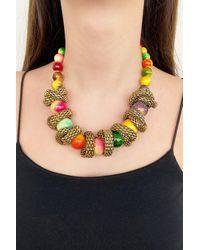 Bold Custom Design Mixed Colour Beaded Necklace - Multicolour