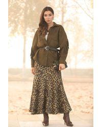 Bold Leopard Pattern Long Skirt - Multicolour
