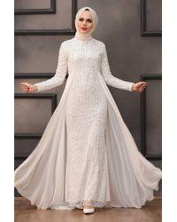 Bold Sequin White Modest Evening Dress