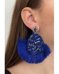 Bold Navy Blue Fringe Earrings - 1 Pair