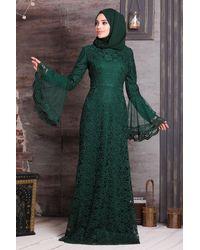 Bold Green Lace Modest Evening Dress
