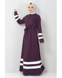 Bold Striped Purple Modest Dress