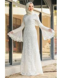 Bold White Lace Modest Evening Dress