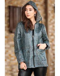Bold Hooded Patterned Rain Coat - Blue