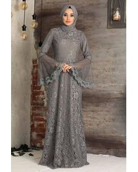 Bold Grey Lace Modest Evening Dress