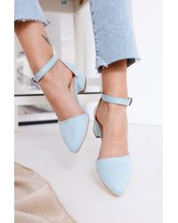 Bold Baby Blue Suede Heeled Shoes