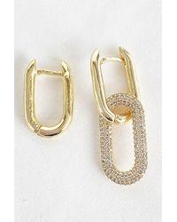 Bold Gemmed Gold Earrings - Metallic