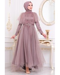 Bold Tulle Modest Evening Dress - Purple