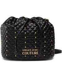 Versace Jeans Couture Quilted Studded Bucket Bag - Black