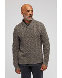 Bonobos Cashmere Cable Shawl Sweater - Gray