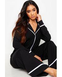 Boohoo Womens Langärmeliges Pyjama-Set mit durchgehender Knopfleiste - Schwarz