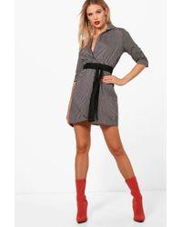 Boohoo - Obi Belt Wrap Shirt Dress - Lyst