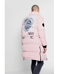 Boohoo Back Print And Embroidery Duvet Puffer - Pink