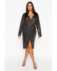 Boohoo Plus Sequin Wrap Plunge Midi Dress - Black