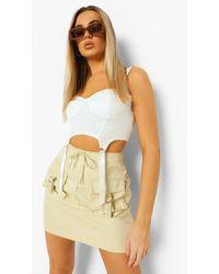 Boohoo Utility Pocket Cargo Mini Skirt - Natural