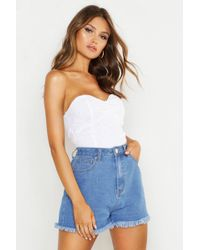 Boohoo - Broderie Anglaise Bandeau Corset - Lyst