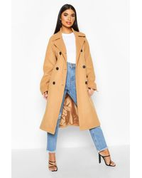 Boohoo Womens Petite Double Breasted Belted Wool Look Coat - Natur