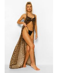Boohoo Tie Front Leopard Chiffon Open Beach Dress - Marrón