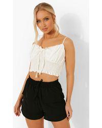 Boohoo - Linen Drawstring Pocket Shorts - Lyst