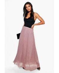 Boohoo - Mia Chiffon Pleated Maxi Skirt - Lyst