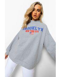 """Boohoo - Womens Crop Sweatshirt Mit """"Brooklyn""""-Slogan - Lyst"""