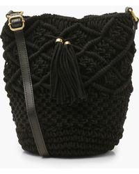 Boohoo Macrame Bucket Bag - Black