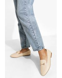 Boohoo Wide Fit T Bar Loafers - Natural