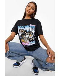 Boohoo Oversized Back Print T Shirt - Black
