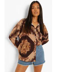 Boohoo Petite Satin Scarf Print Oversized Shirt - Brown