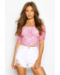 Boohoo Ditsy Floral Mesh Puff Sleeve Top - Red
