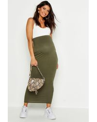 Boohoo Maternity Over The Bump Maxi Skirt - Green
