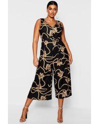 Boohoo - Plus Chain Printed Culotte Jumpsuit - Lyst