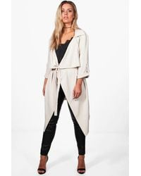 Boohoo Plus Daisy Belted Waterfall Duster Coat - Natural