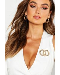 Boohoo Chain Double Circle Linked Brooch - Multicolor