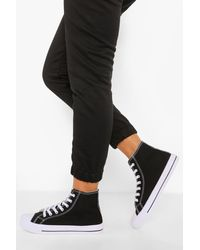 Boohoo Wide Fit High Top Canvas Trainers - Black