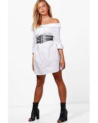 Boohoo | Allie Off Shoulder Shirt Dress | Lyst