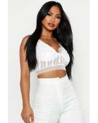 Boohoo Womens Lace Mesh Panelled Bralet - White - 2