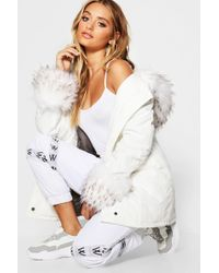 Boohoo - Faux Fur Hood And Cuff Parka - Lyst