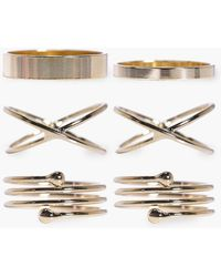Boohoo - Simple Stackable Mixed 6 Ring Set - Lyst