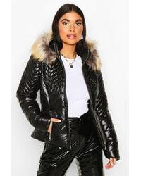 Boohoo Womens Petite High Shine Faux Fur Trim Padded Jacket - Schwarz