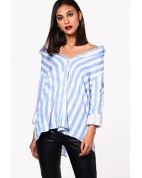 Boohoo - Candy Stripe Off The Shoulder Shirt - Lyst
