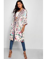 Boohoo - Contrast Floral Belted Kimono - Lyst
