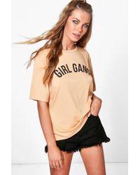 Boohoo - Girl Gang Slogan Oversized T-shirt - Lyst
