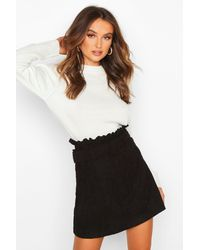Boohoo Cord Belted Mini Skirt - Nero
