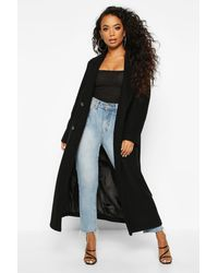 Boohoo Petite Belted Double Breasted Wool Look Coat - Negro