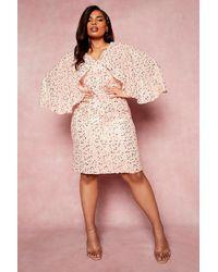 Boohoo Plus Occasion Sequin Kimono Sleeve Midi Dress - Pink