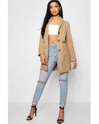Boohoo - Tailored Wool Look Coat - Lyst