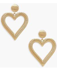 Boohoo Line Effect Heart Door Knocker Earrings - Metallizzato